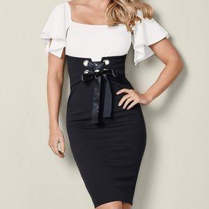 Venus Plus 18 Black/white stretchy tie up dress